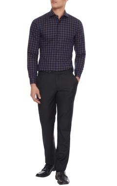 Vikram Bajaj Blue & khaki cotton chequered shirt