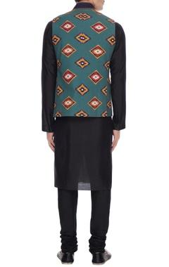 Sea green print cotton nehru jacket