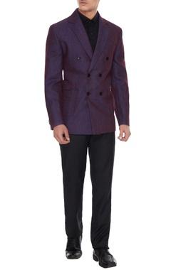 Vikram Bajaj Purple linen solid double breasted jacket