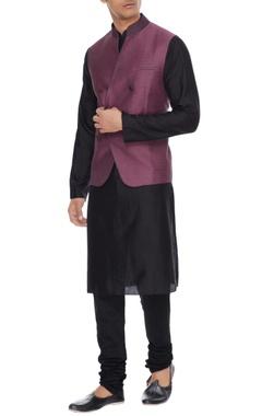 Vikram Bajaj Lavender melange linen blend nehru jacket