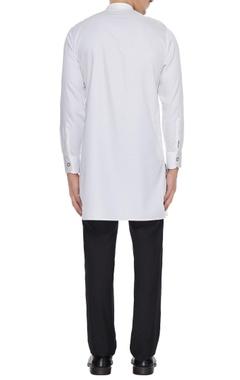 Pristine white cotton satin solid kurta