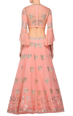 Pink gota work blouse with lehenga & dupatta