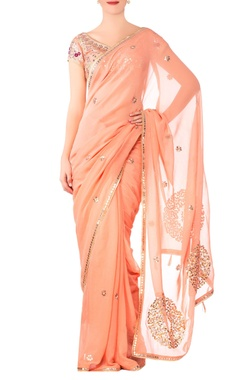 Devnaagri Peach georgette embroidered saree with raw silk blouse
