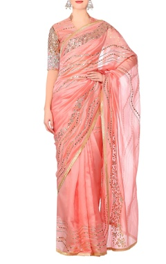 Devnaagri Pink gota work saree with blouse