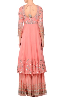 Pink gota work anarkali kurta with gharara & dupatta
