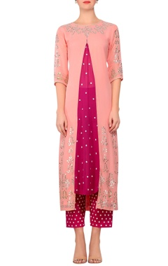 Devnaagri Light pink gota embroidered straight kurta with magenta embroidered work pants