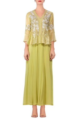 Devnaagri Light green embroidered peplum blouse with lehenga