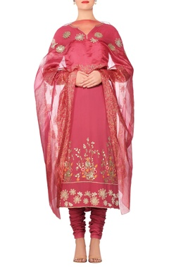 Devnaagri Punch pink embroidered straight kurta with churidar & embellished dupatta