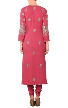 Punch pink embroidered straight kurta with churidar & embellished dupatta