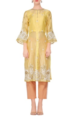 Devnaagri Yellow embroidered straight kurta with peach pants
