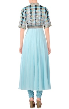 Blue chequered & embroidered anarkali kurta with churidar & dupatta