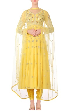 Devnaagri Yellow embroidered anarkali kurta with churidar & dupatta