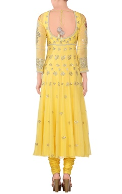Yellow embroidered anarkali kurta with churidar & dupatta
