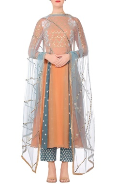 Devnaagri Orange embroidered a-line kurta with blue embroidered pants & dupatta
