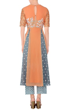 Orange embroidered a-line kurta with blue embroidered pants & dupatta