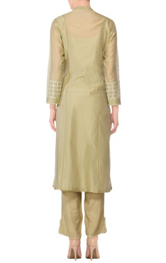 Olive green embroidered straight kurta with pants & dupatta