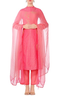 Devnaagri Coral pink embroidered straight kurta with slim fit pants & dupatta