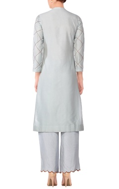 Ash blue stitch detail kurta with solid pants & printed dupatta