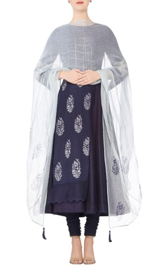 Devnaagri Navy blue embroidered & mirror work anarkali kurta with churidar & light blue tassel detail dupatta