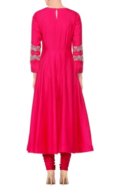 Pink embroidered & mirror work anarkali kurta with churidar & tassel dupatta