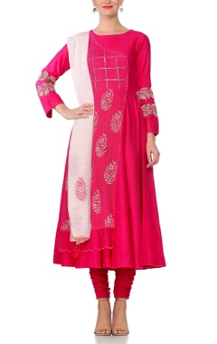 Devnaagri Pink embroidered & mirror work anarkali kurta with churidar & tassel dupatta