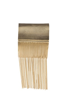 Golden brass tassel cuff bracelet