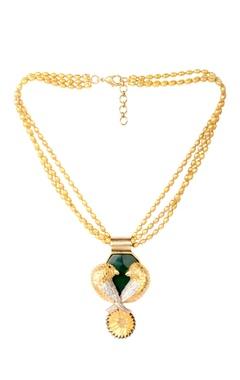 Golden brass agate love bird gemstone necklace