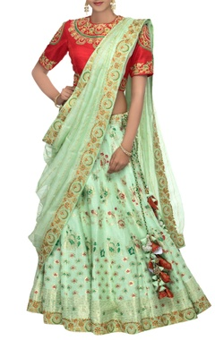 Apple green & red woven banarasi linen lehenga set