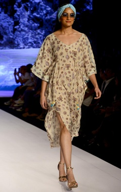 Powder yellow printed kaftan dress