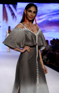 Ivory & grey ombre chanderi & brasso fabric cold-shoulder dress