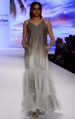 Mandira Wirk Ivory & grey ombre chanderi & brasso slip dress with ruffle layer