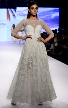 Mandira Wirk Ivory corset gown in embroidered tulle & organza