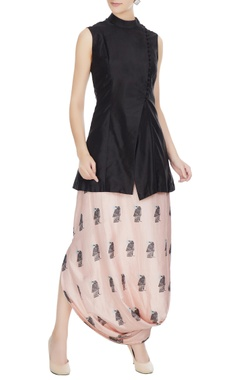 SVA - Sonam and Paras Modi Black silk jacket with beige printed draped skirt