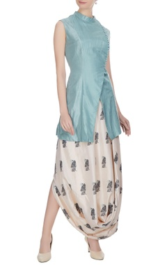 SVA - Sonam and Paras Modi Blue & beige silk overlap jacket with printed draped skirt
