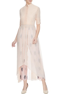 SVA - Sonam and Paras Modi Nude beige high-low georgette anarkali with printed pants