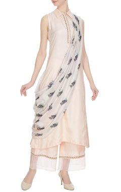 SVA - Sonam and Paras Modi Beige silk kurta with draped layer & pants
