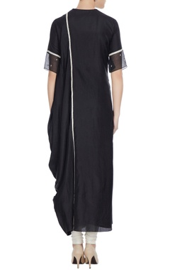 Black kardhana work draped kurta