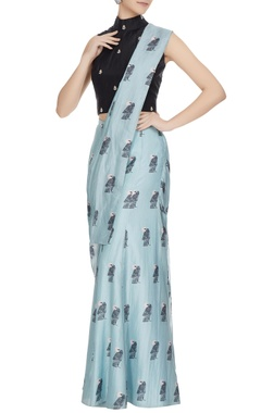 SVA - Sonam and Paras Modi Teal blue & black concept saree with attached pants, drape & blouse