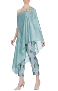 SVA - Sonam and Paras Modi Teal blue one-shoulder kurta with cigarette pants