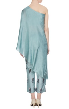 Teal blue one-shoulder kurta with cigarette pants