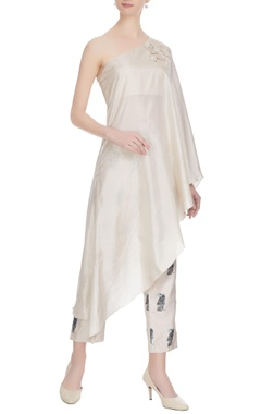 SVA - Sonam and Paras Modi Beige thread embroidered & pearl one-shoulder silk kurta with printed cigarette pants