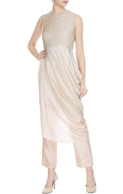 SVA - Sonam and Paras Modi Beige draped cowl layer kurta with cigarette pants