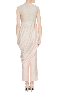 Beige draped cowl layer kurta with cigarette pants