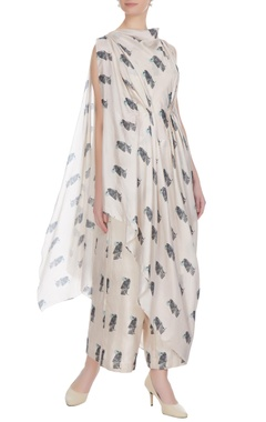 SVA - Sonam and Paras Modi Beige bird printed silk crop top with attached layer & palazzos