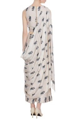 Beige bird printed silk crop top with attached layer & palazzos