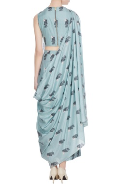 Teal blue printed crop top with draped layer & pants