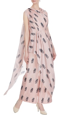 SVA - Sonam and Paras Modi Beige printed crop top with draped layer & palazzos