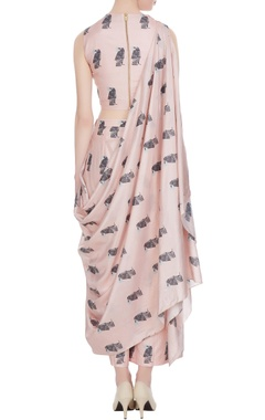 Beige printed crop top with draped layer & palazzos