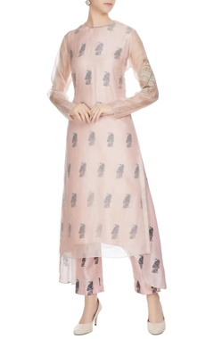 SVA - Sonam and Paras Modi Nude sheer organza kurta with printed inner & cigarette pants