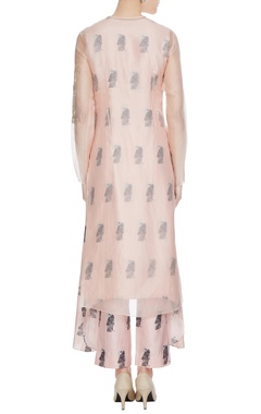 Nude sheer organza kurta with printed inner & cigarette pants